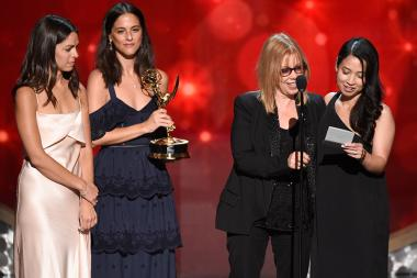 The casting team from The People V. O.J. Simpson: American Crime Story accept an award at the 2016 Creative Arts Emmys.
