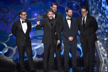 Chris Hardwick and the team from @Midnight With Chris Hardwick accept their award at the 2016 Creative Arts Emmys.