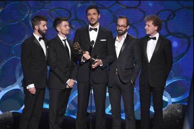 The interactive media team from Henry accepts their award at the 2016 Creative Arts Emmys.