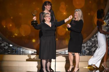 The makeup team for Game of Thrones accepts the award at the 2016 Creative Arts Emmys.