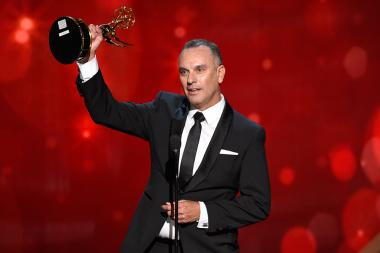 Dana Gonzales accepts his award at the 2016 Creative Arts Emmys.