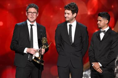 The team from The Man in the High Castle accepts their award at the 2016 Creative Arts Emmys.