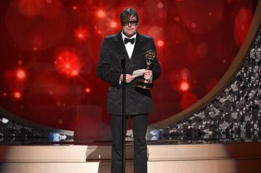 James Hawkinson accepts his award at the 2016 Creative Arts Emmys.