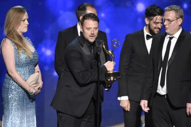 The visual effects team for Sherlock accepts their award at the 2016 Creative Arts Emmys.