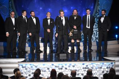 The team from Game of Thrones accepts their award at the 2016 Creative Arts Emmys.