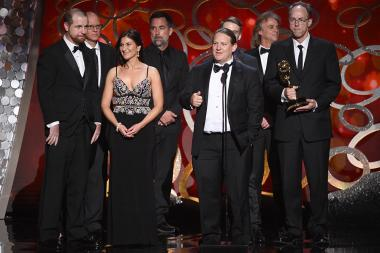 The sound editing team for Black Sails accepts their award at the 2016 Creative Arts Emmys.