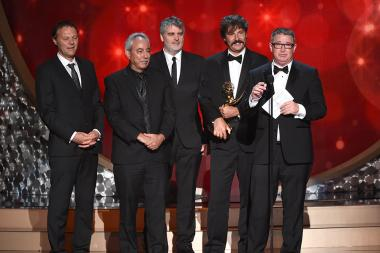 """The team from """"Fargo"""" accepts their award for the 2016 Creative Arts Emmy."""