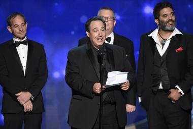 The sound mixing team from Mozart in the Jungle accept an award at the 2016 Creative Arts Emmys.