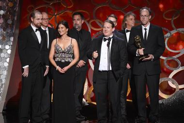The team from Black Sails on stage at the 2016 Creative Arts Emmys.