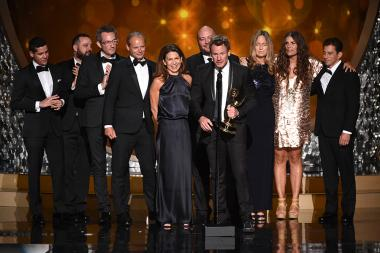 """Ad Agency and Persuade & Influence / Mindride accept their award for outstanding commercial for """"Love Has No Labels"""" at the 2016 Creative Arts Emmys."""