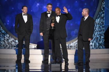 The sound mixing team for The People V. O.J. Simpson: American Crime Story accept their award at the Creative Arts Emmys.