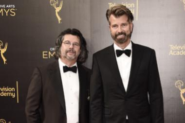 Ron Moore and Jon Gary Steele on the red carpet at the 2016 Creative Arts Emmys.