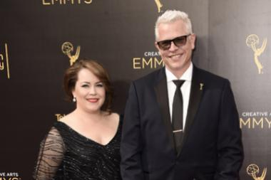 Monte C. Haught and guest on the red carpet at the 2016 Creative Arts Emmys.