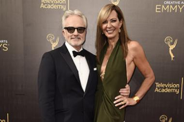 Bradley Whitford and Allison Janney on the red carpet at the 2016 Creative Arts Emmys.
