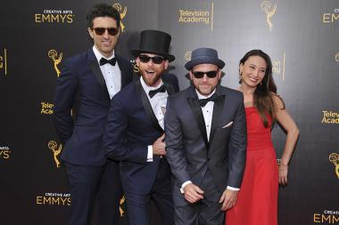 Zach Sherwin, Lloyd Ahlquist, Peter Shukoff and Michelle Maloney on the red carpet at the 2016 Creative Arts Emmys.