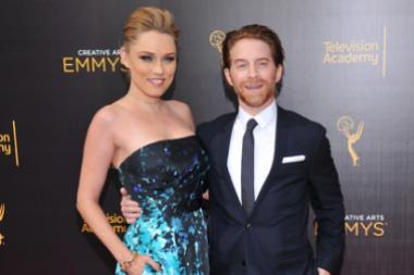 Clare Grant, left, and Seth Green on the red carpet at the 2016 Creative Arts Emmys.