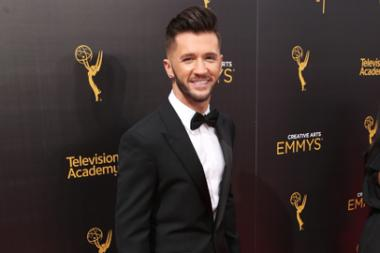 Travis Wall on the red carpet at the 2016 Creative Arts Emmys.