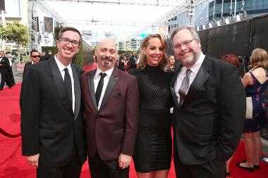 Matt Senreich, Mike Fasolo, Deirdre Devlin and Tom Root on the red carpet at the 2016 Creative Arts Emmys.