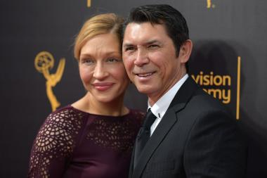 Yvonne Boismier Phillips and Lou Diamond Phillips on the red carpet at the 2016 Creative Arts Emmys.