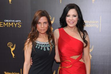 Lati Grobman and Christa Campbell on the red carpet at the 2016 Creative Arts Emmys.