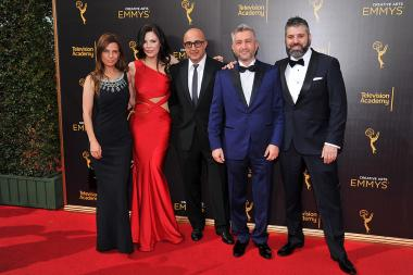 Lati Grobman, Christa Campbell, David Dinerstein, Dan Tolmer, and Evgeny Afineevsky on the red carpet at the 2016 Creative Arts Emmys.