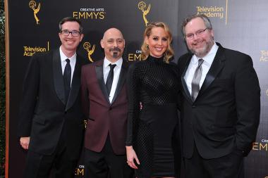 Matt Senreich, from left, Mike Fasolo, Deirdre Devlin, and Tom Root on the red carpet at the 2016 Creative Arts Emmys.