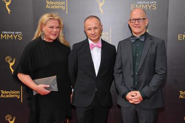 Katharina Otto-Bernstein, Fenton Bailey, and Randy Barbato on the red carpet at the 2016 Creative Arts Emmys.