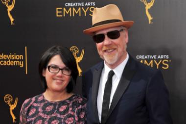 Julia Savage and Adam Savage on the red carpet at the 2016 Creative Arts Emmys.