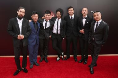 Members of the Quest Crew on the red carpet at the 2016 Creative Arts Emmys