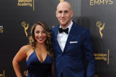 Josh Wingate, right, and guest on the red carpet at the 2016 Creative Arts Emmys.