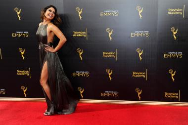 Vanessa Hudgens on the red carpet at the 2016 Creative Arts Emmys.