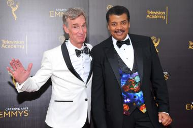 Bill Nye, left, and Neil deGrasse Tyson on the red carpet at the 2016 Creative Arts Emmys.