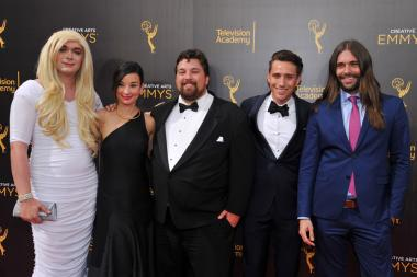 The cast of Gay of Thrones on the red carpet at the 2016 Creative Arts Emmys.