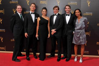 The team from Jim: The James Foley Story on the red carpet at the 2016 Creative Arts Emmys.