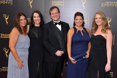 The team from Born This Way on the red carpet at the 2016 Creative Arts Emmys.