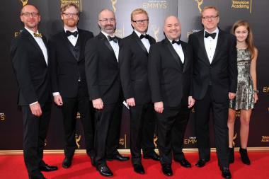The team from Archer on the red carpet at the 2016 Creative Arts Emmys.