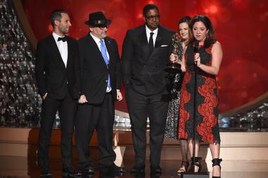 The producers from What Happened, Miss Simone? accepts their award at the 2016 Creative Arts Emmys.