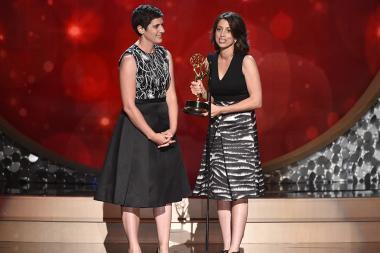 Laura Ricciardi and Moira Demos accept their award at the 2016 Creative Arts Emmys.