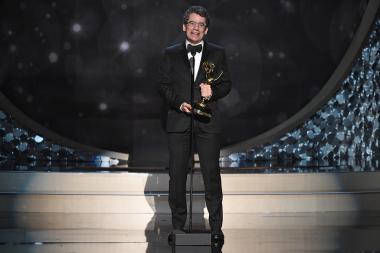 Ryan McFaul accepts his award at the 2016 Creative Arts Emmys.