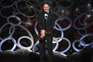 Jason Carpenter accepts his award at the 2016 Creative Arts Emmys.