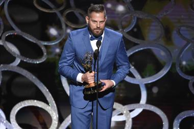 Jason Kolowski accepts his award at the Creative Arts Emmys.