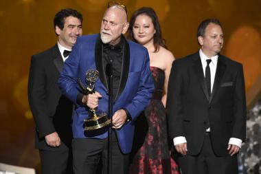 """The team from """"Project Greenlight"""" accepts the award for outstanding picture editing for an unstructured reality program during night two of the Television Academy's 2016 Creative Arts Emmys."""