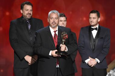 The lighting desing team from The Voice accepts their award at the 2016 Creative Arts Emmys.
