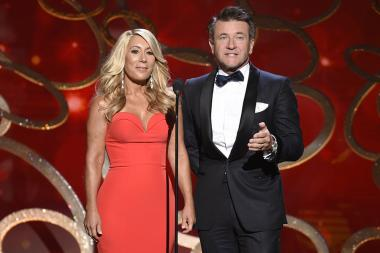 Lori Greiner and Robert Herjavec on stage at the 2016 Creative Arts Emmys.