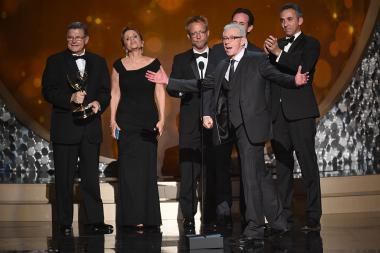 The producers from Dancing with the Stars accepts their award at the 2016 Creative Arts Emmys.
