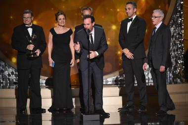 The technical team for Dancing with the Stars accepts their award at the 2016 Creative Arts Emmys.