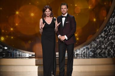 Marilu Henner and Derek Hough on stage at the 2016 Creative Arts Emmys.