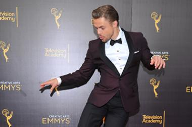 Derek Hough on the red carpet at the 2016 Creative Arts Emmys.