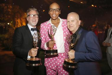 Ned Martel, from left, RuPaul Charles, and Ryan Murphy at the 2016 Creative Arts Ball.