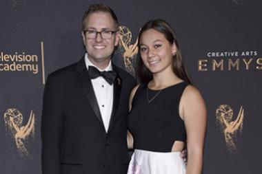 President and COO of the Television Academy Maury McIntyre and Dabney Welborn on the red carpet at the 2017 Creative Arts Emmys.